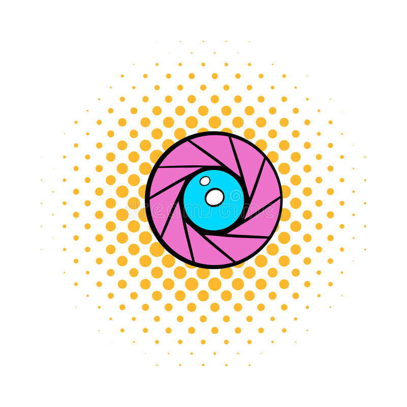 Camera aperture icon, comics style royalty free illustration