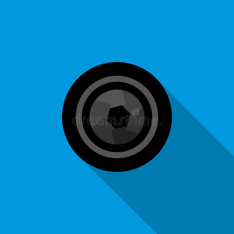 Camera aperture icon in flat style stock illustration