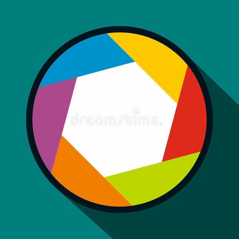 Camera aperture icon in flat style. On a blue background royalty free illustration