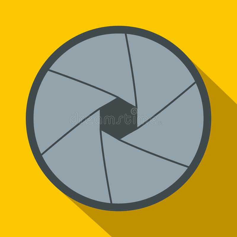 Camera aperture icon in flat style. On a yellow background stock illustration