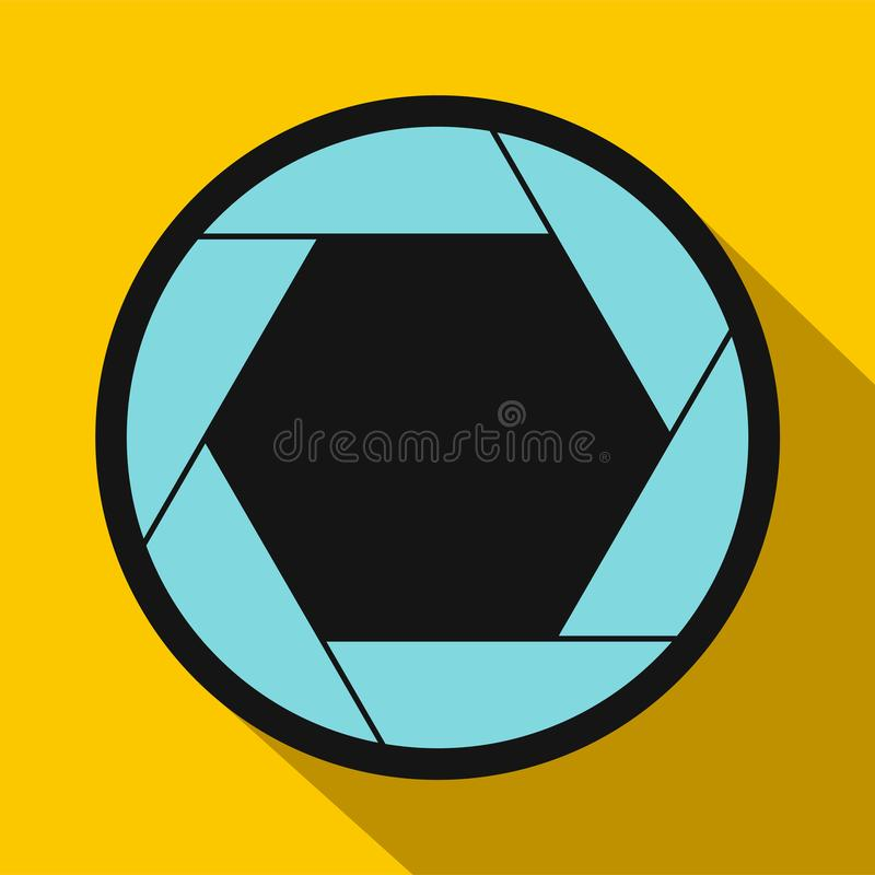 Camera aperture icon in flat style. On a yellow background vector illustration