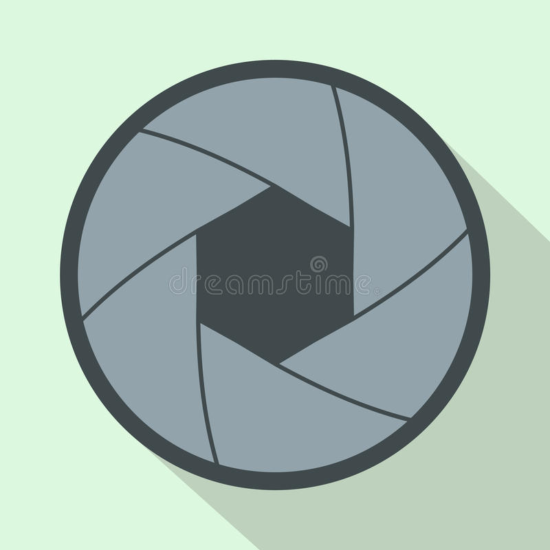 Camera aperture icon in flat style. On a light blue background royalty free illustration