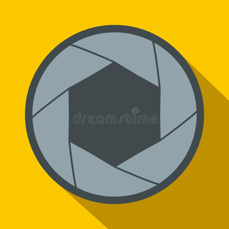 Camera aperture icon in flat style. On a yellow background royalty free illustration