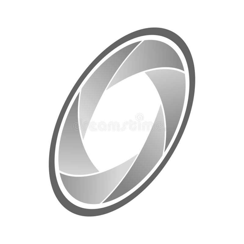 Camera aperture icon, isometric 3d style royalty free illustration