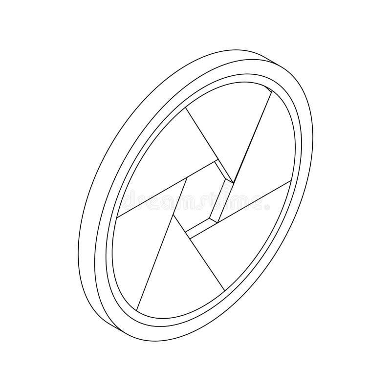 Camera aperture icon, isometric 3d style. Camera aperture icon in isometric 3d style on a white background stock illustration