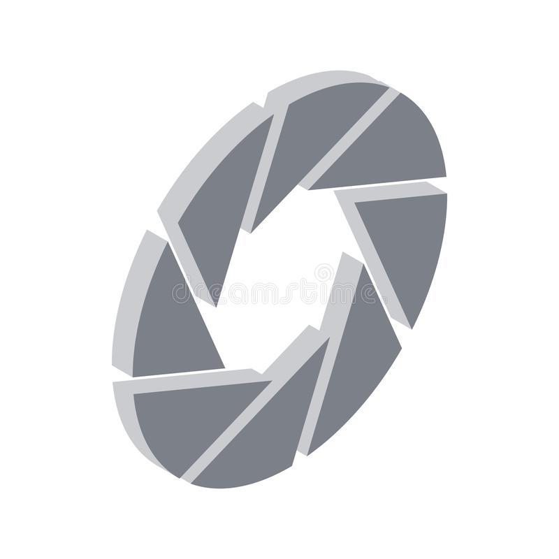 Camera aperture icon, isometric 3d style vector illustration