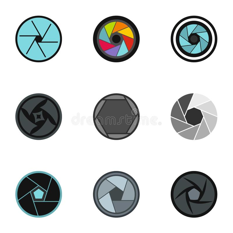 Camera aperture icons set, flat style stock illustration