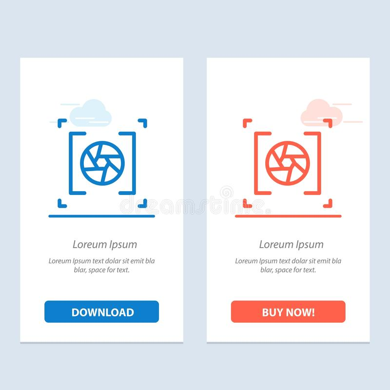 Camera, Aperture, Lens, Photography  Blue and Red Download and Buy Now web Widget Card Template stock illustration