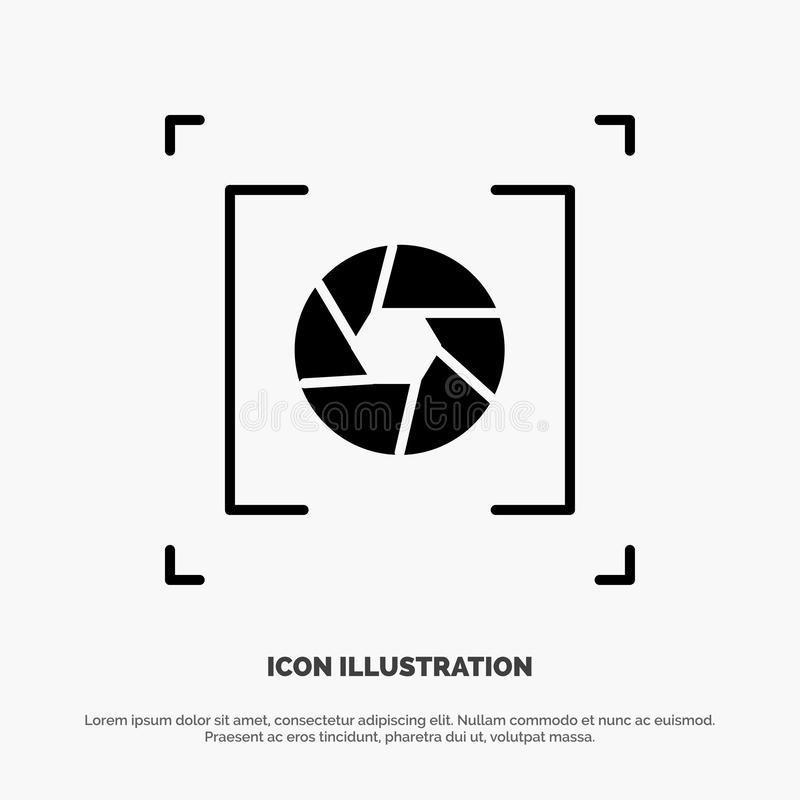 Camera, Aperture, Lens, Photography solid Glyph Icon vector vector illustration