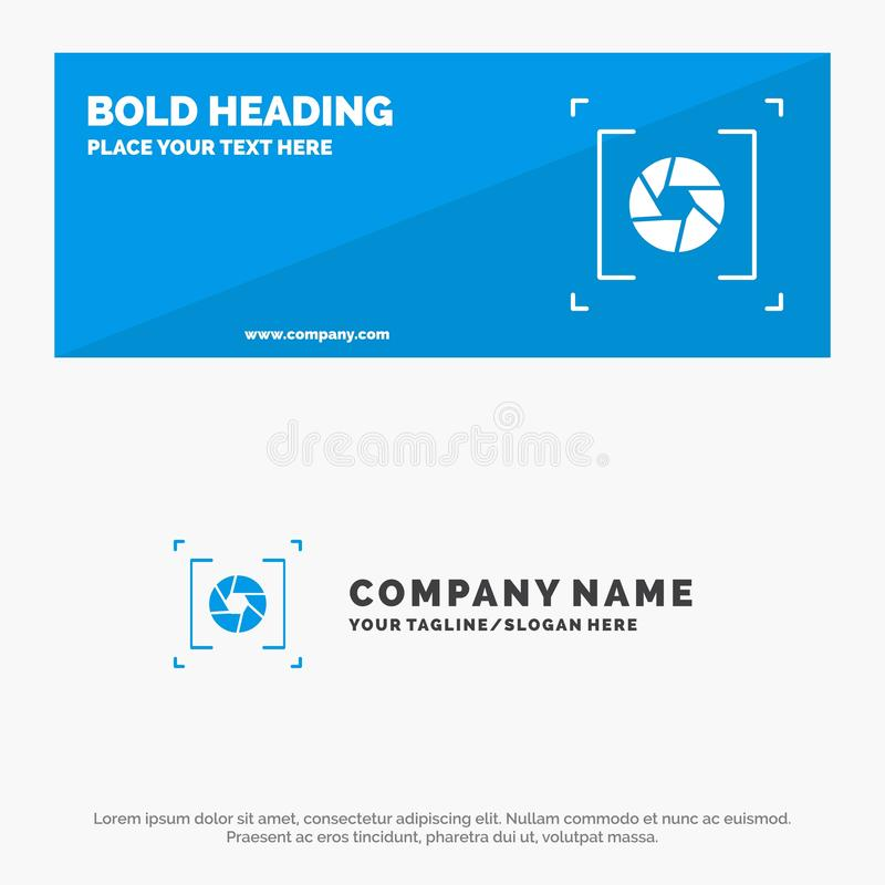 Camera, Aperture, Lens, Photography SOlid Icon Website Banner and Business Logo Template vector illustration
