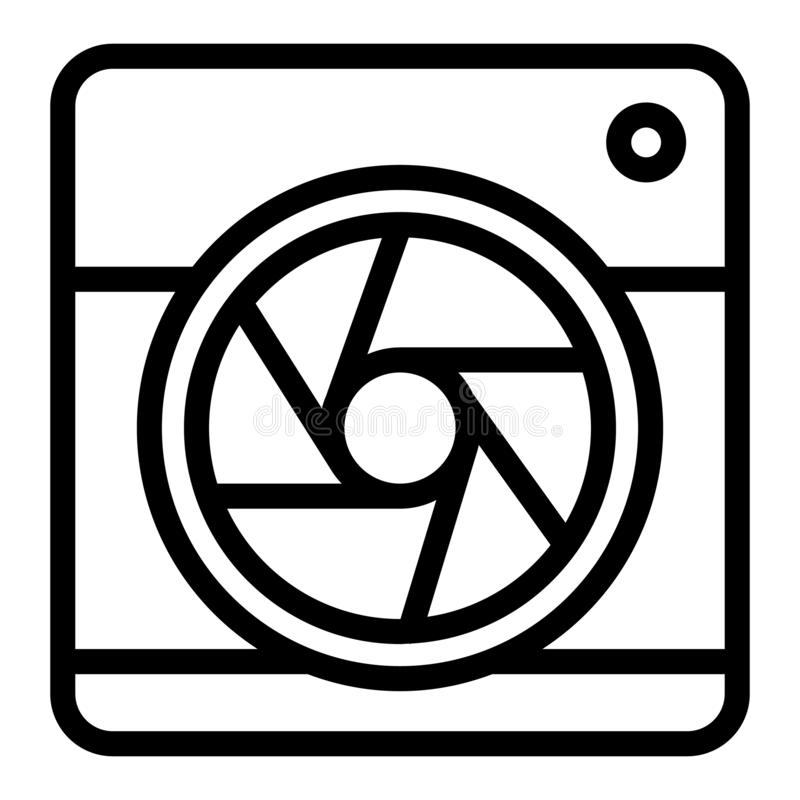 Camera with aperture line icon. Camera objective vector illustration isolated on white. Lens camera outline style design. Designed for web and app. Eps 10 royalty free illustration