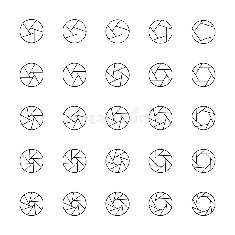 Camera aperture position collection. Set of lens diaphragm with various number of petals.  royalty free illustration