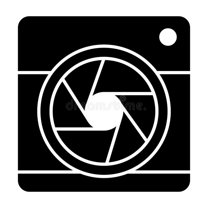 Camera with aperture solid icon. Camera objective vector illustration isolated on white. Lens camera glyph style design. Designed for web and app. Eps 10 stock illustration