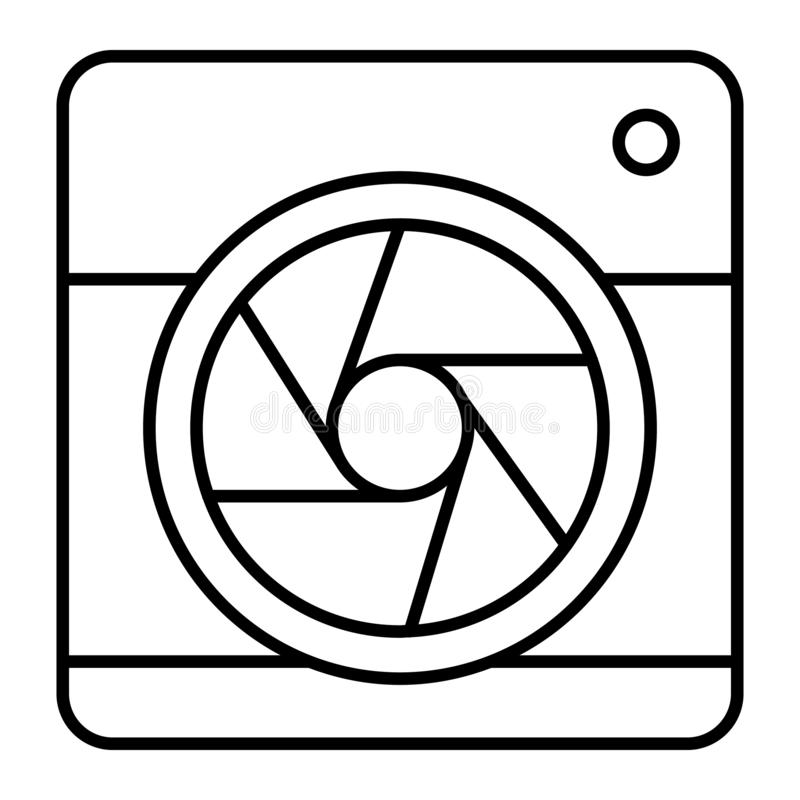 Camera with aperture thin line icon. Camera objective vector illustration isolated on white. Lens camera outline style. Design, designed for web and app. Eps 10 royalty free illustration