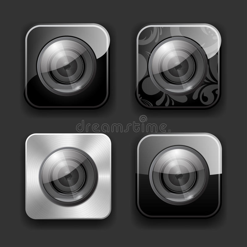 Camera apps icon set stock illustration