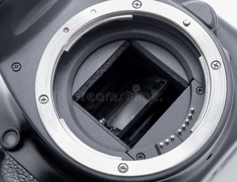 Camera bayonet close-up. Connector with a lens. stock photos