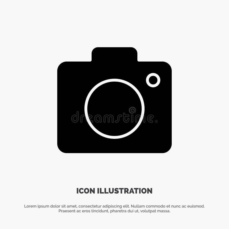 Camera, Beeld, Foto, het Pictogramvector van Beeld stevige Glyph stock illustratie