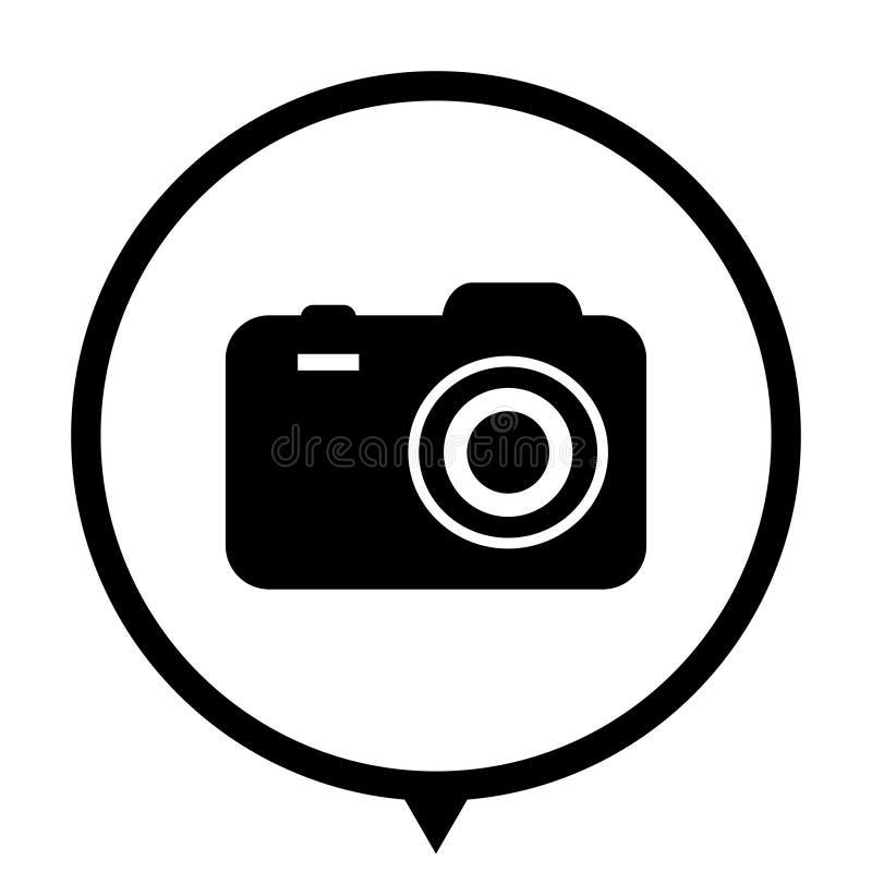 Camera - black icon. Camera - black vector icon; map pointer stock illustration