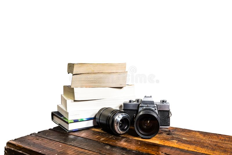 Camera Books Wood Abstract on white stock photos