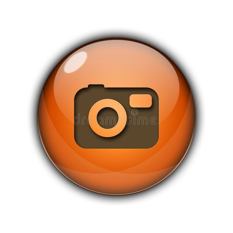 Camera Button icon 3D orange color vector illustration