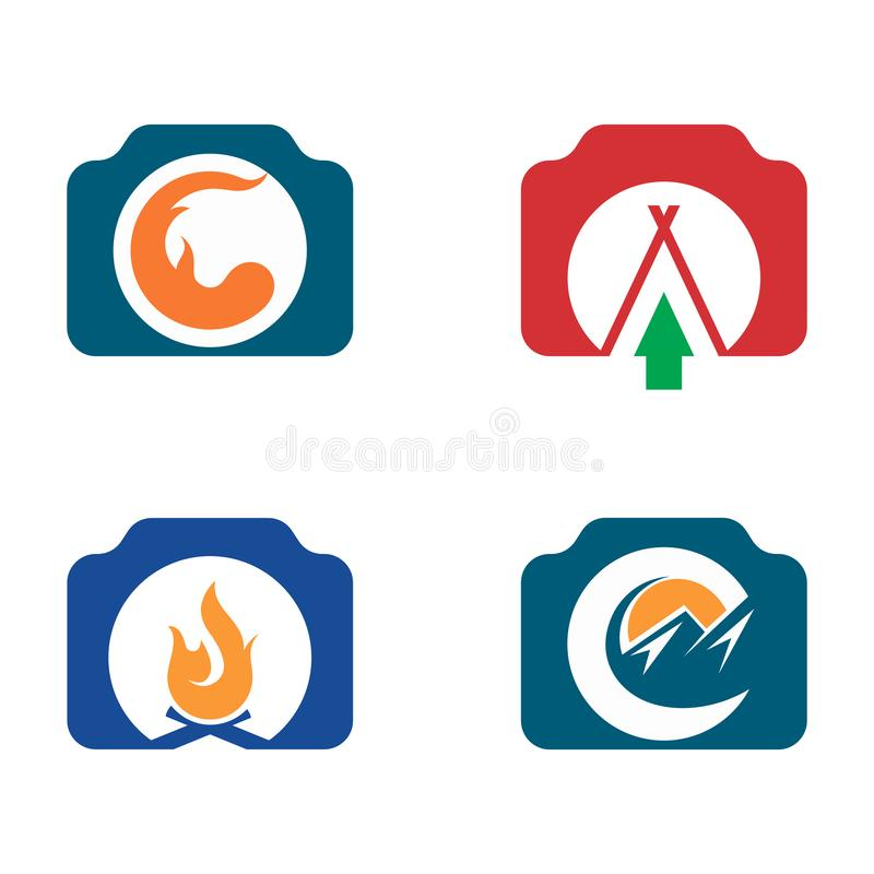 Camera Camp Fire Adventure Picture Photography Symbol.  royalty free illustration