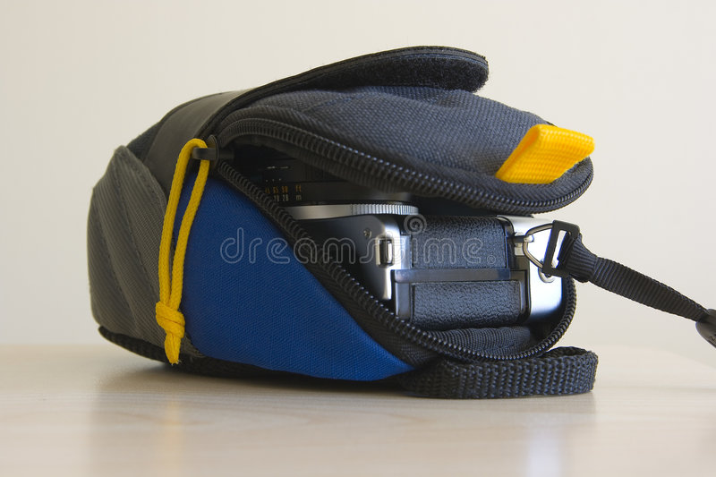 Camera case. A photo of a camera case and camera stock images