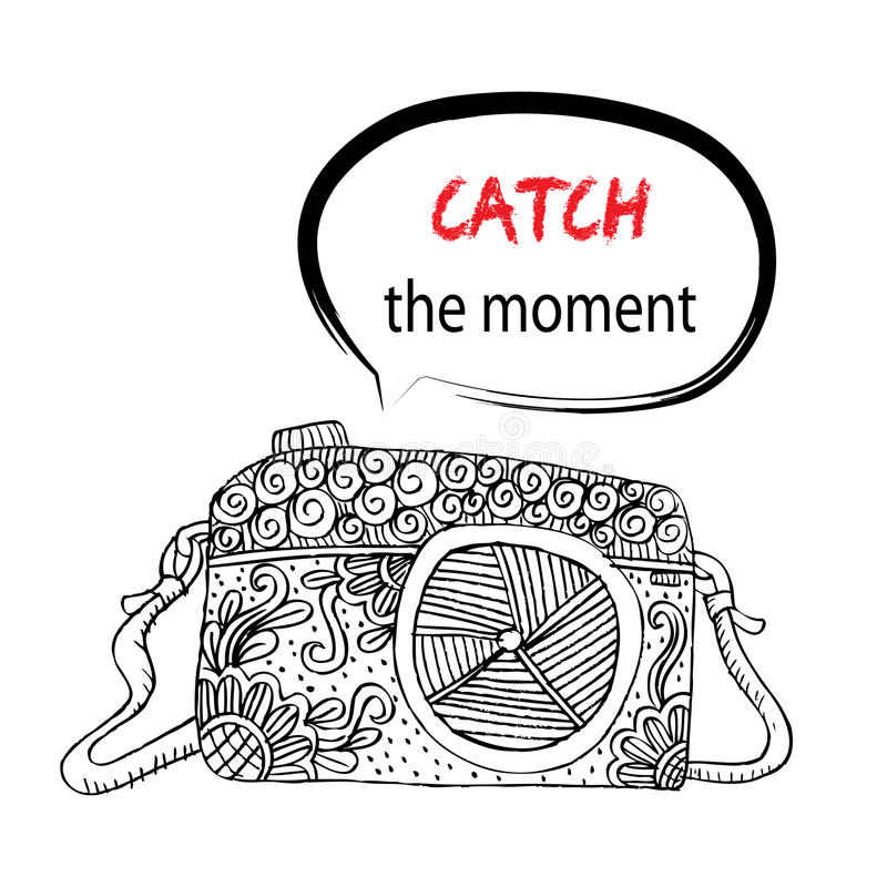 Camera with Catch the moment lettering vector illustration