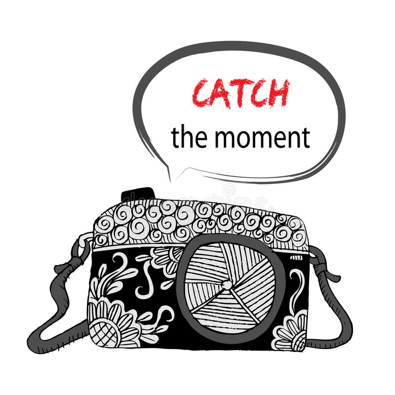 Camera with Catch the moment lettering stock illustration