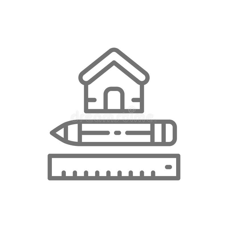 Camera che misura, strumento di misura per la casa, linea icona di piano architettonico royalty illustrazione gratis