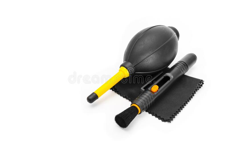 Camera Cleaning Set Isolated on White Studio Background with Clipping Path. Closeup Used Lens Cleaning Wipes Microfiber Cloth, stock images