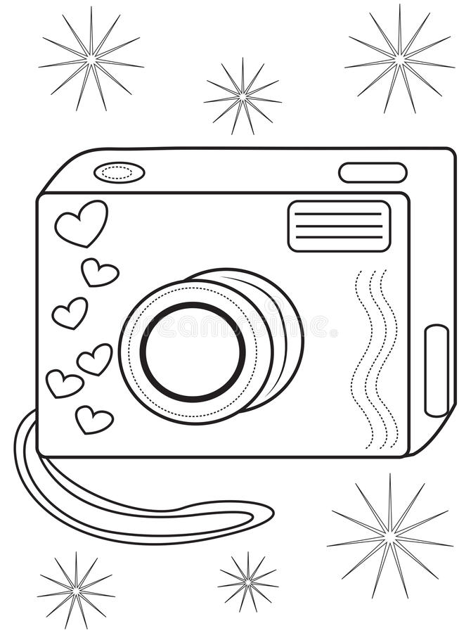 Camera Coloring Page Stock Illustration Image 50696586