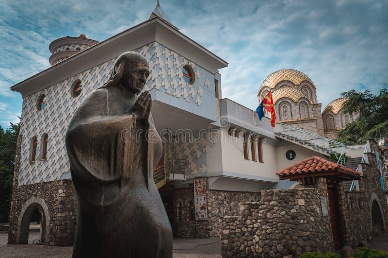 Camera commemorativa di Madre Teresa, Skopje, Repubblica Macedone fotografia stock libera da diritti