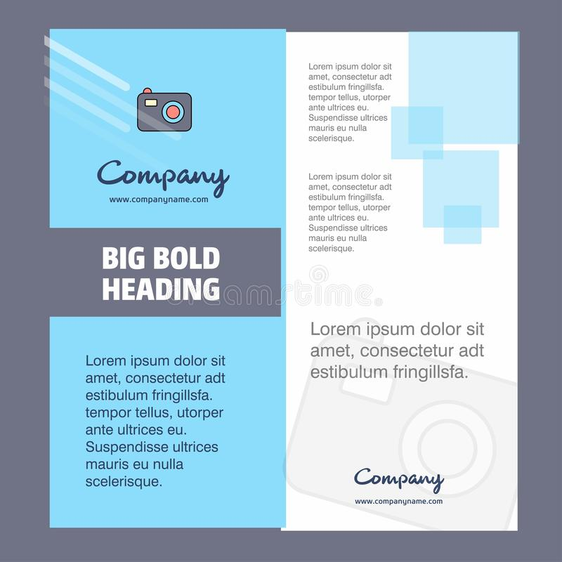 Camera Company Brochure Title Page Design. Company profile, annual report, presentations, leaflet Vector Background royalty free illustration