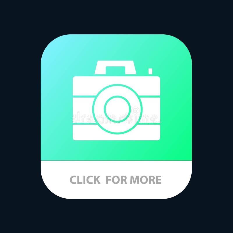 Camera, Computer, Digital, Technology Mobile App Button. Android and IOS Glyph Version royalty free illustration