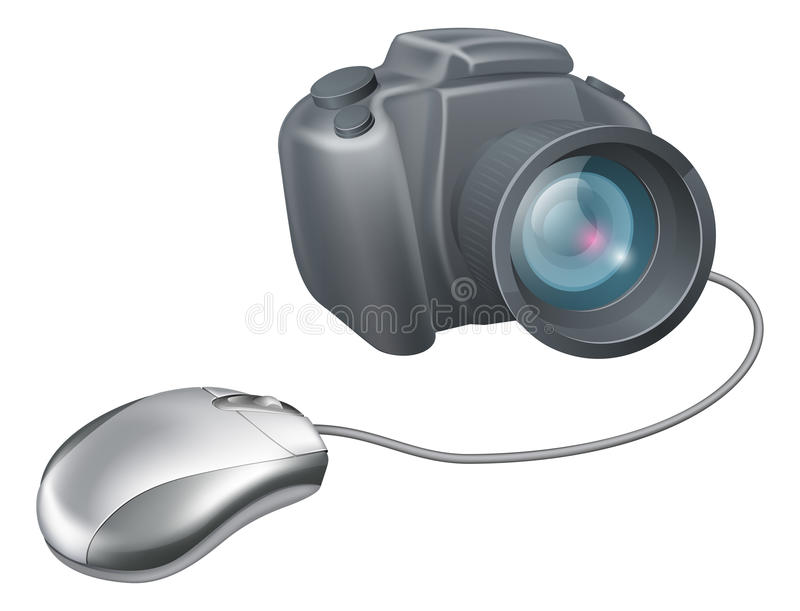 Camera computer mouse concept royalty free illustration