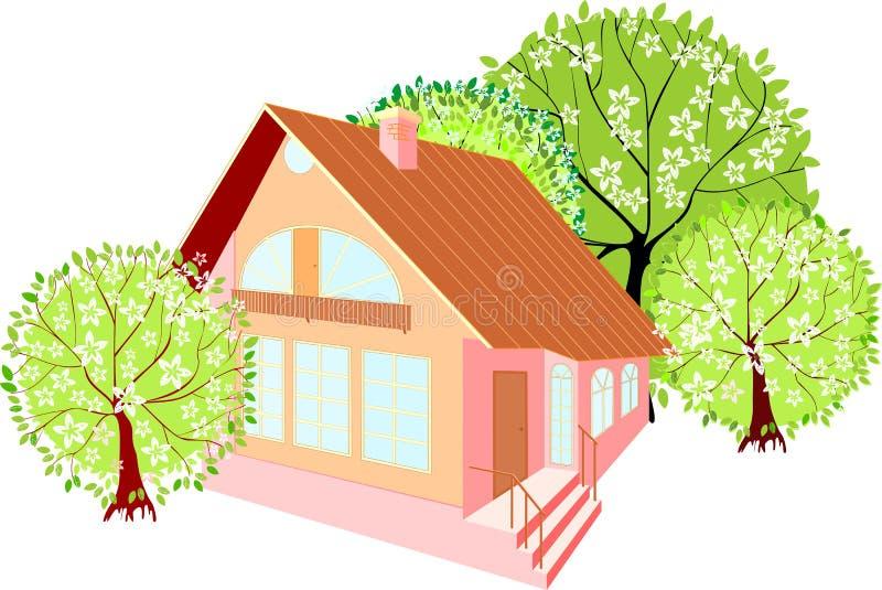 Camera con gli alberi della molla royalty illustrazione gratis