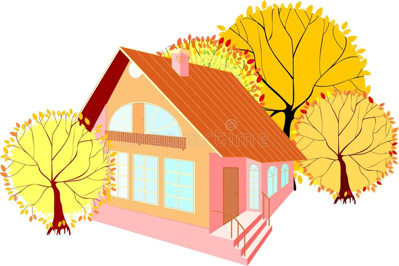 Camera con gli alberi di autunno illustrazione di stock