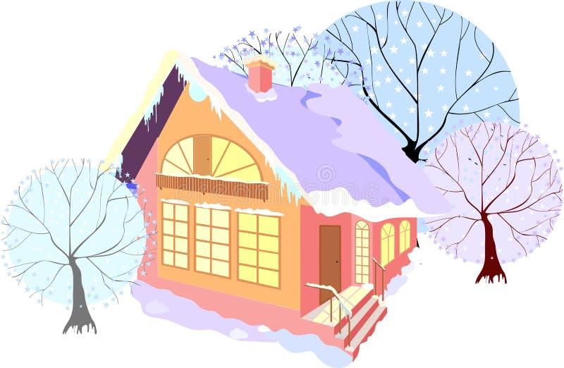 Camera con gli alberi di inverno illustrazione vettoriale