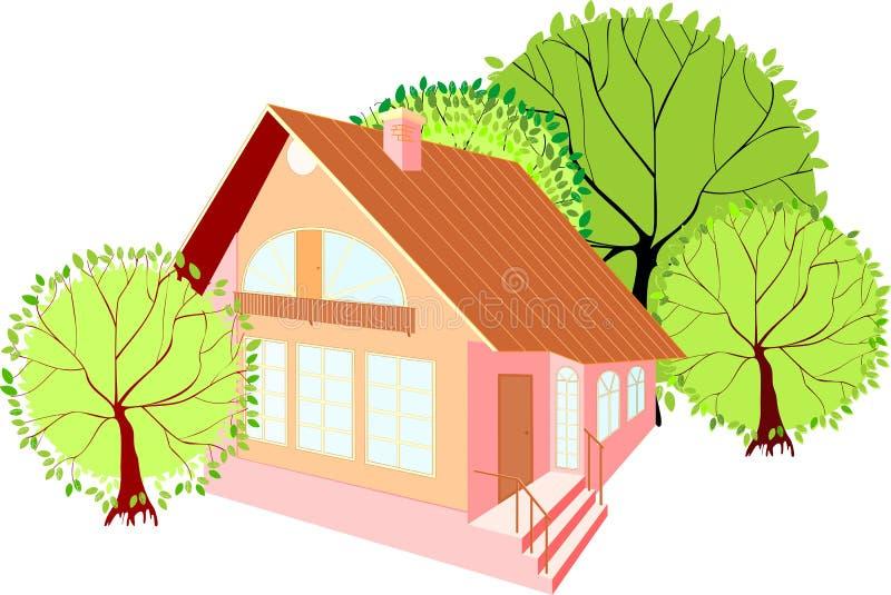 Camera con gli alberi verdi royalty illustrazione gratis