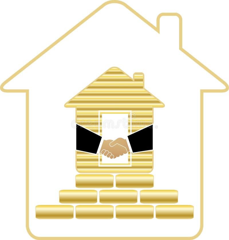 Camera con i mattoni e la stretta di mano dell'oro illustrazione vettoriale