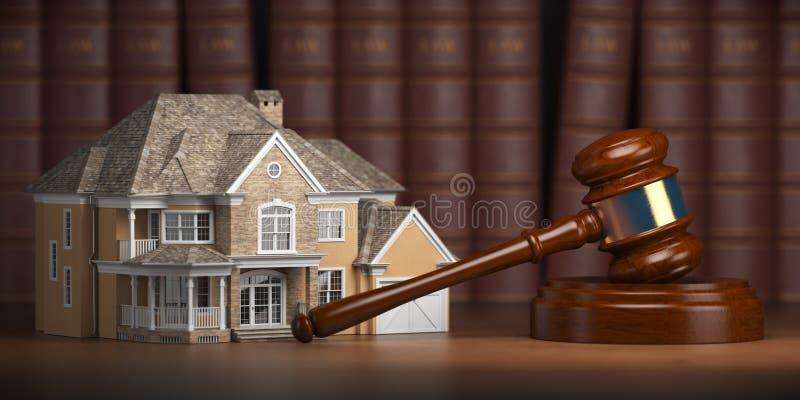 Camera con il martelletto ed i libri di legge Legge del bene immobile e aucti della casa royalty illustrazione gratis