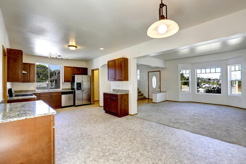 Camera con la pianta aperta stanza vuota della cucina e di for Foto di cucina e soggiorno a pianta aperta