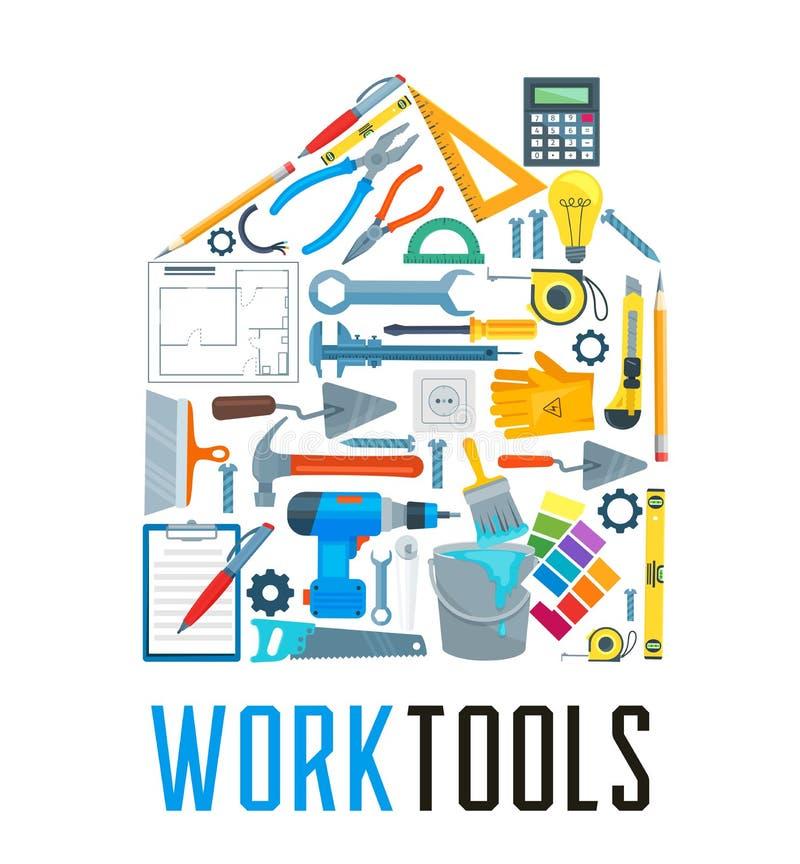 Camera con le icone dello strumento del lavoro per progettazione domestica di riparazione illustrazione di stock