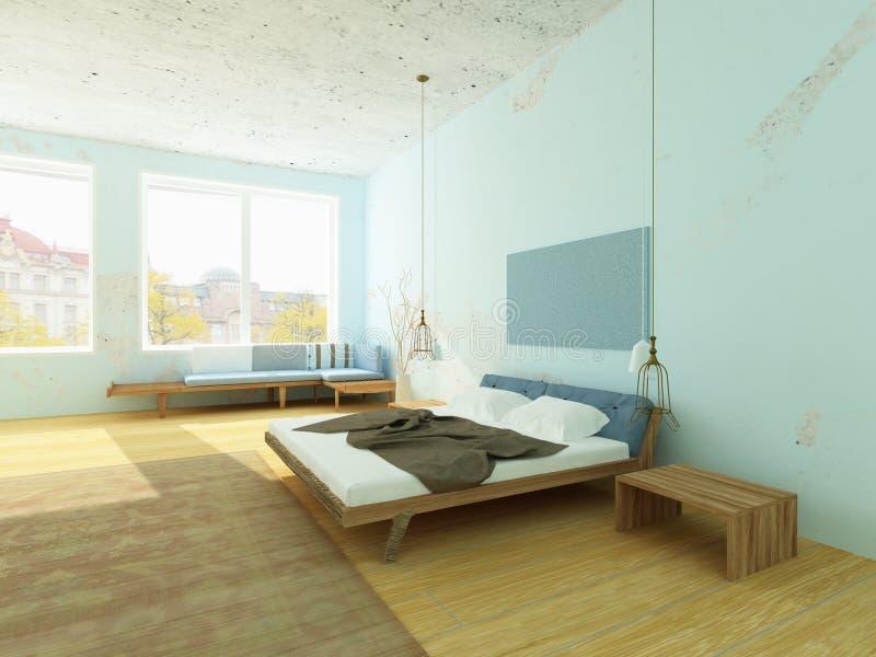 Camera da letto accogliente con le pareti blu stile - Camera da letto stile nordico ...