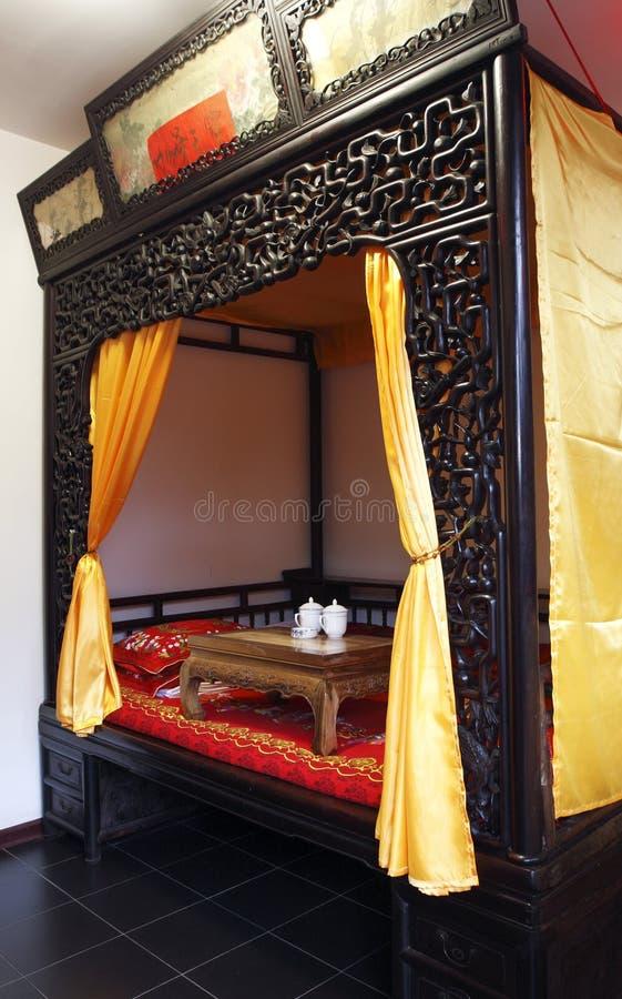 Camera da letto antica di Cinese-stile fotografia stock libera da diritti