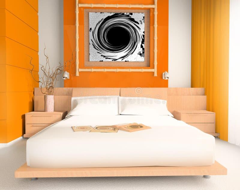 Camera da letto arancione immagine stock. Immagine di felicità - 2663159