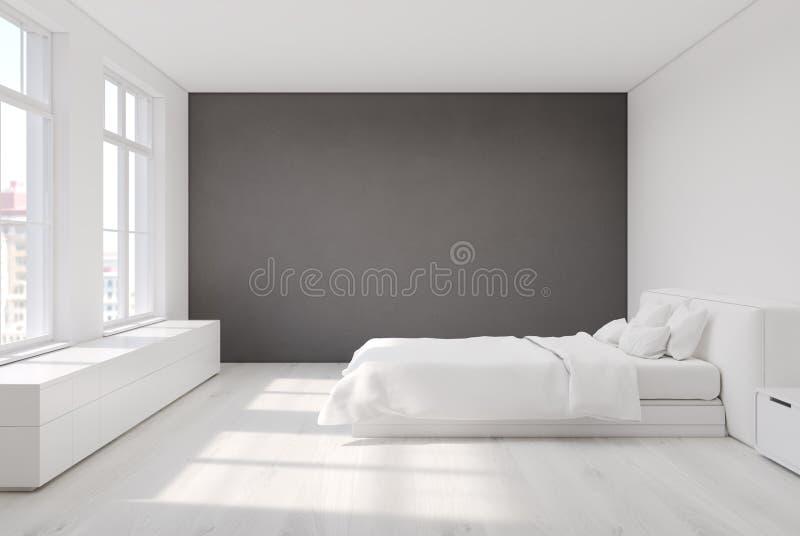 Camera da letto bianca con una parete grigia illustrazione - Camera da letto grigia ...