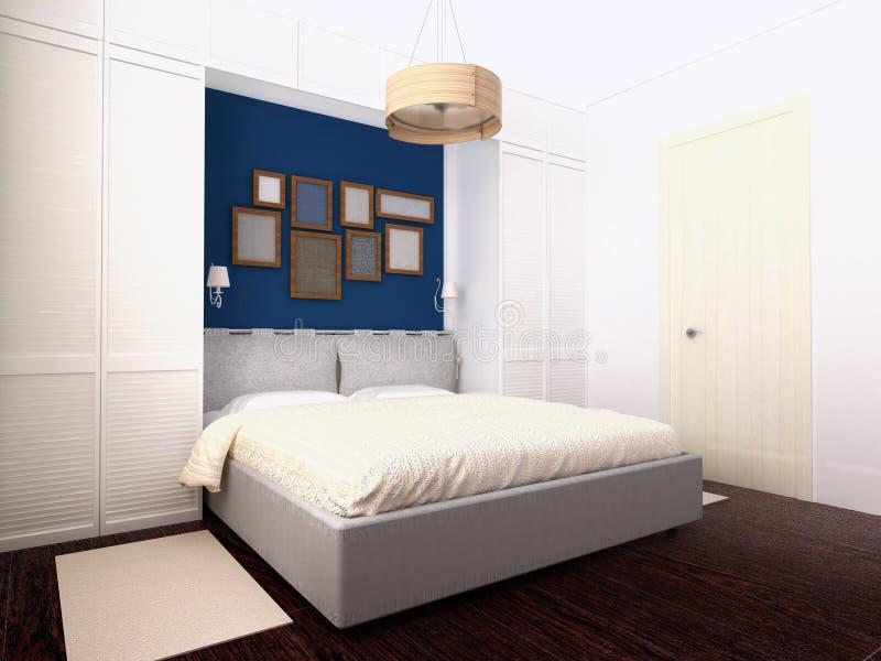 Camera da letto bianca e blu illustrazione di stock - Camera da letto bianca ...