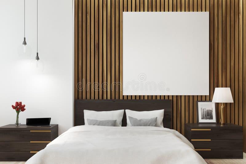 Camera da letto bianca e di legno, manifesto royalty illustrazione gratis
