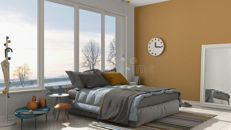 Camera da letto bianca e gialla moderna colorata con il grande windo panoramico illustrazione vettoriale